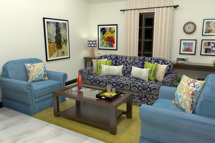 CUBS Design Stories: Bright, Bold and Blue Living Room Makeover