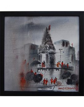 Banaras temple canvas painting online