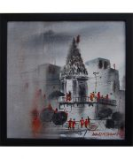 Banaras temple canvas painting online