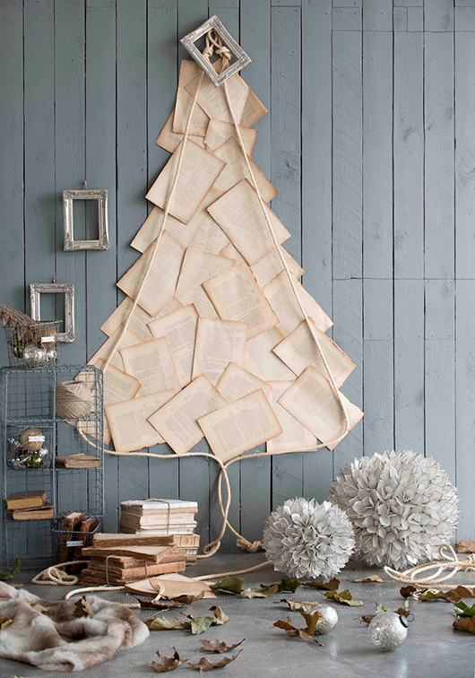 Christmas Decor - Christmas Tree Made From Old Yellowed Papers