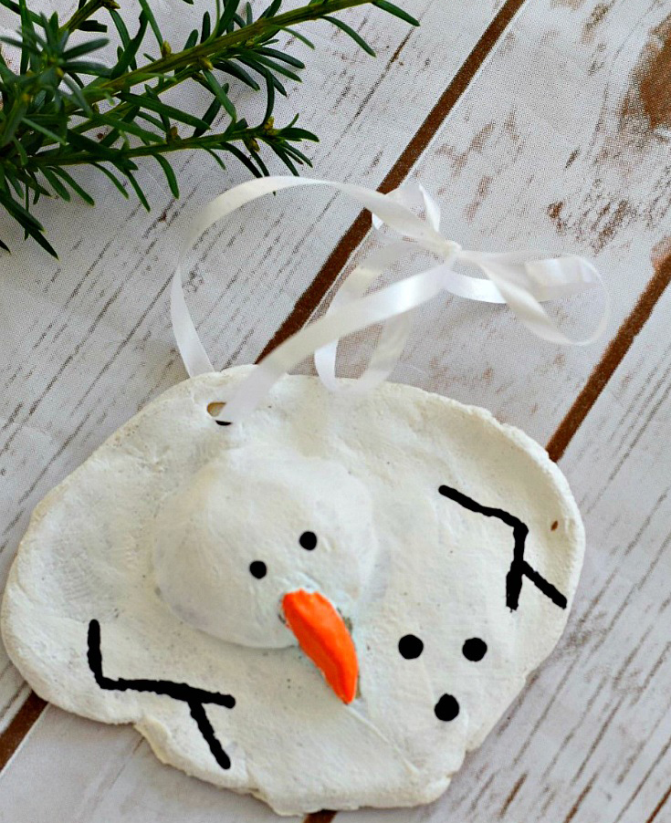 DIY Melted Snowman Salt Dough Ornament
