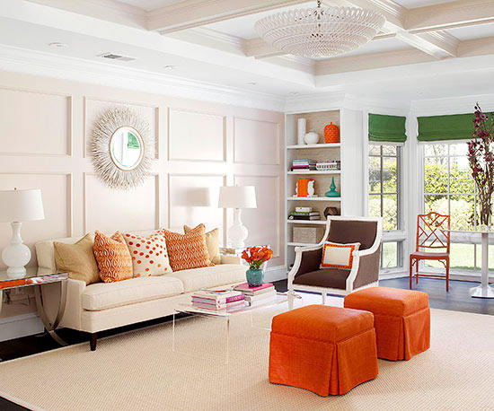 Orange Living room - orange interior design