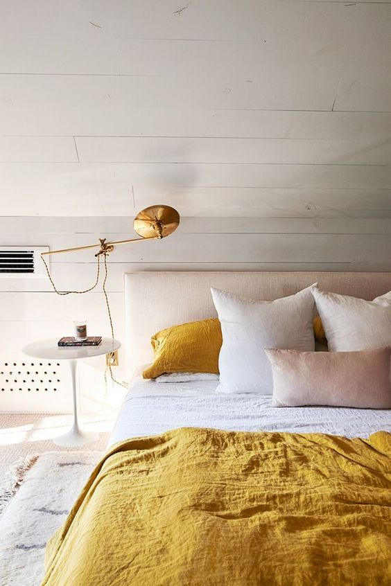 yellow room - yellow bedroom - contemporary interior design