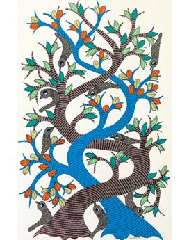 Intertwined Fates - Gond Art Painting - Gond Art - Wall Art - Wall Painting - Wall Decor - Traditional Painting - Decor - Paintings - Indian Paintings