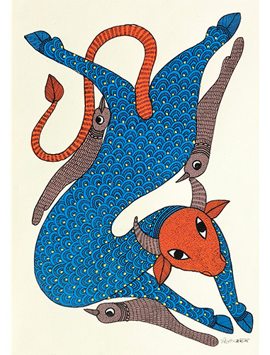 Lazy Afternoon - Gond Art Painting - Gond Art - Wall Art - Wall Painting - Wall Decor - Traditional Painting - Decor - Paintings - Indian Paintings