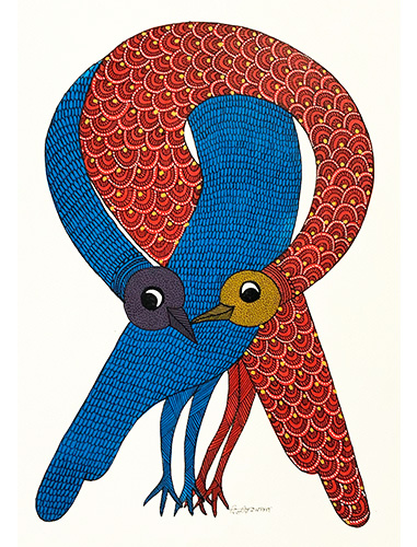 Forbidden Romance - Gond Art Painting - Gond Art - Wall Art - Wall Painting - Wall Decor - Traditional Painting - Decor - Paintings - Indian Paintings