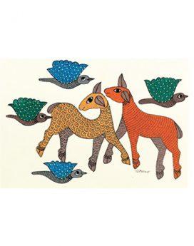 Run Along - Gond Art Painting - Gond Art - Wall Art - Wall Painting - Painting - Gond Tribe - Madhya Pradesh - colour ur blank spaces