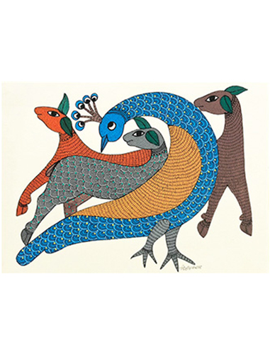 Aren't I Pretty? - Gond Art Painting - Gond Art - Wall Painting - Wall Art - Aboriginal Art - Dots and Dashes -