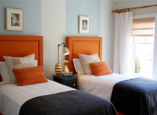 Kids bedroom - Headboard- Orange Interior- Twin bed - single bed