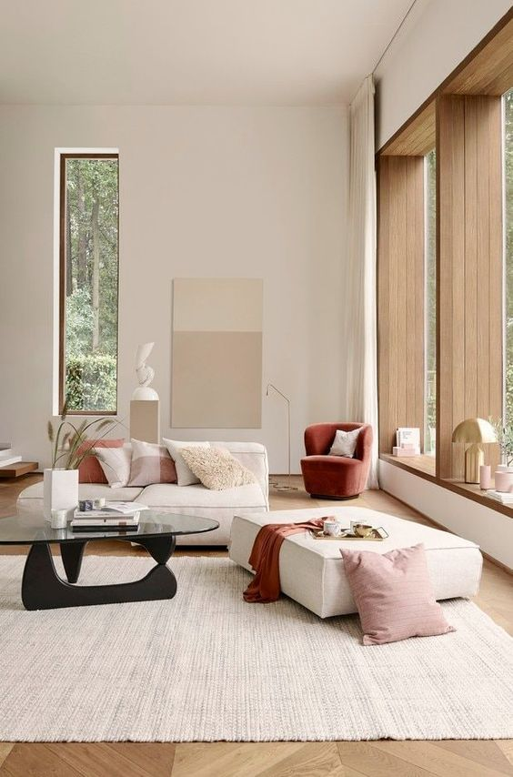 Interior design - Contemporary interior design - pink room - living room