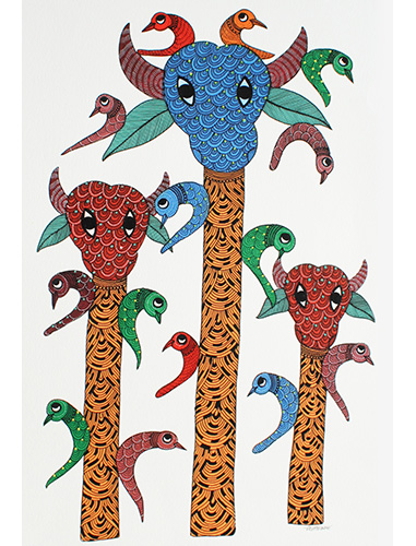 Good Fortune - Gond Art Painting - Gond Art - Wall Art - Wall Painting - Wall Decor - Traditional Painting - Decor - Paintings - Indian Paintings