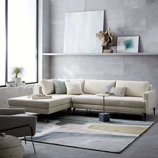 West Elm - Sectional Sofa - White Sofa - Living room design - Simple Design - Simple room design