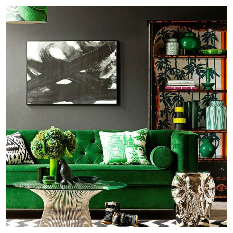 Green Room - Green Interiors - Green colour impact - green colour psychology - green living room - jewel living room - classy living room