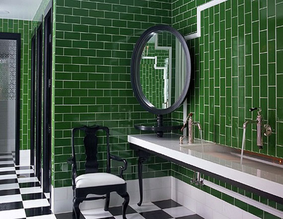 Royal bathroom - rich bathroom - green tiles - green room