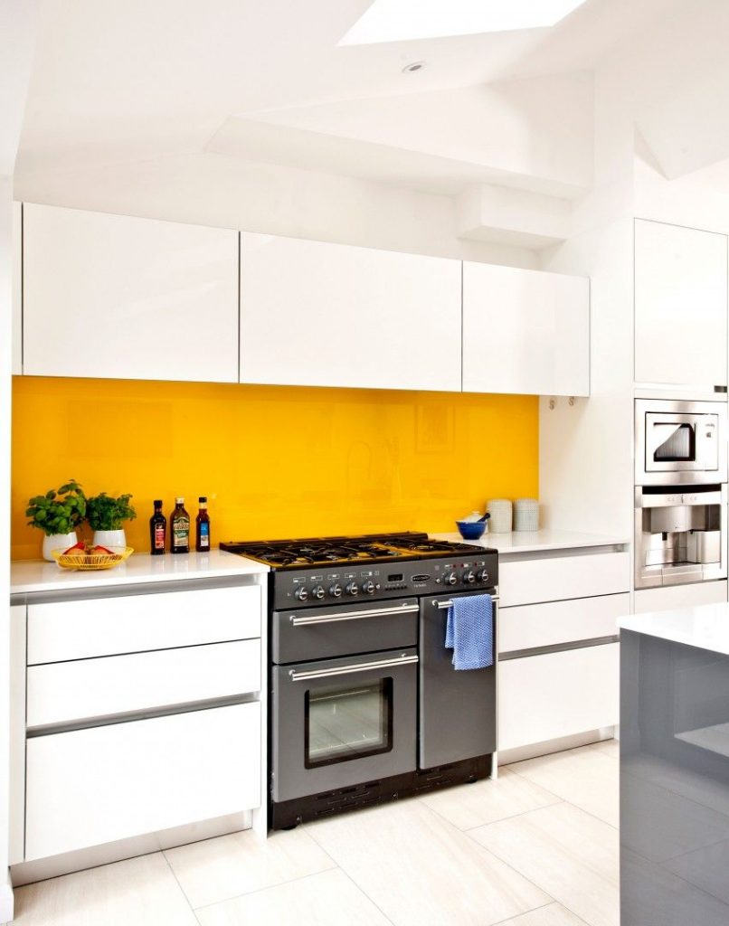 Yellow Kitchen - Yellow backsplash - yellow interior