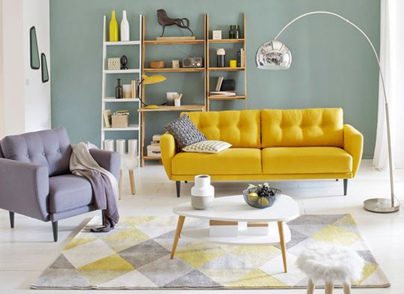 yellow couch - yellow interiors
