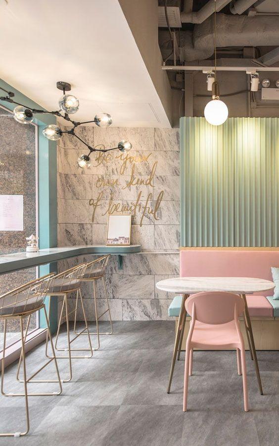 General Lighting - Restauraunt lighting - wallpaper design - pastel colours