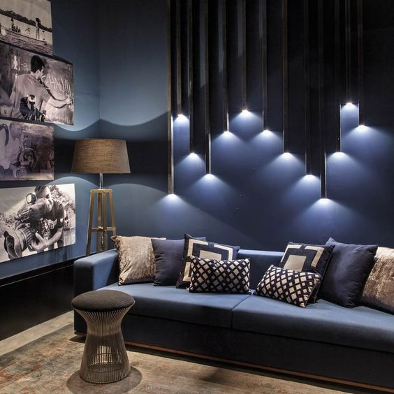 Living Room Design - Light Desdign - Moody - Living Room - Blue Living Room - Blue Couch - Gallery Wall