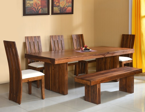 Dining room design - dining room - dining table design - dining chairs - dining table with bench - solid wood dining set - @home - athome - at home