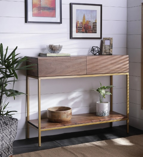 Golden understructure - console table - sleek console - foyer design - console deaign - gold  - wood